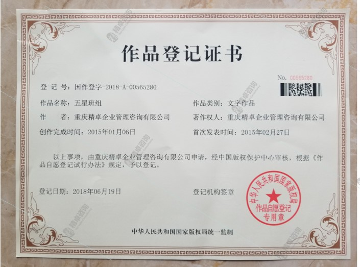 《五星班组》产品获国家版权证书